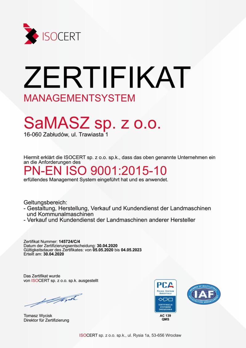 Certyfikat Iso De