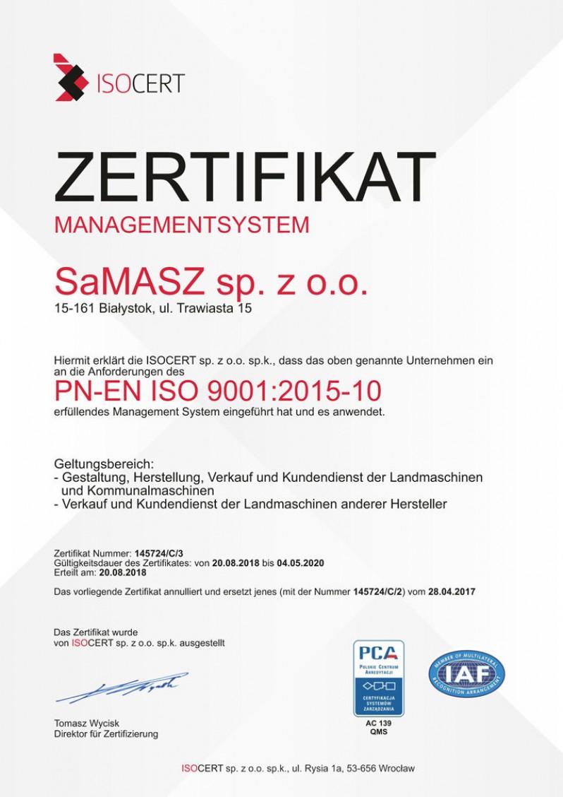 Samasz Certificate Iso De 2019