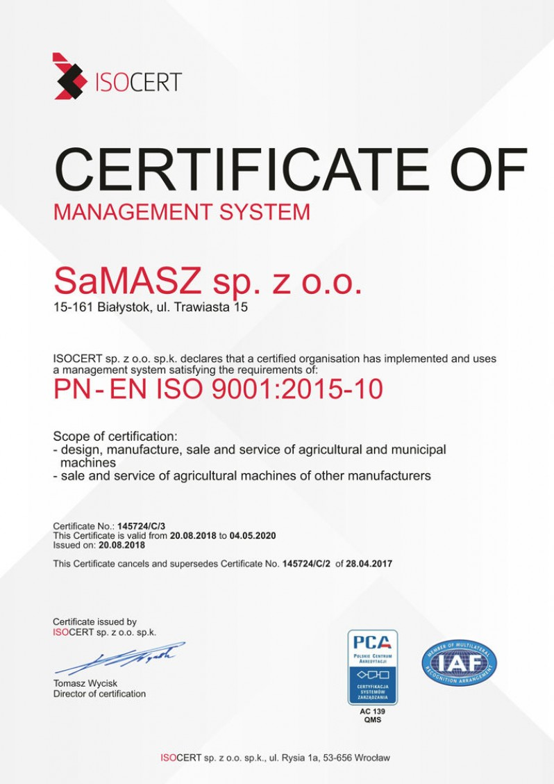 Samasz Certificate Iso Eng 2019