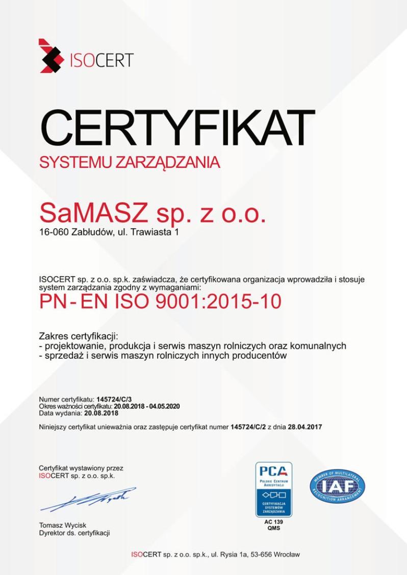 Certyfikat Systemu Zarzadzania