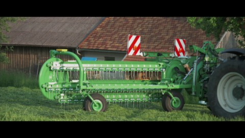 Zgrabiarka TWIST 600 z ciągnikiem VALTRA // Basket rake TWIST 600 working with VALTRA tractor