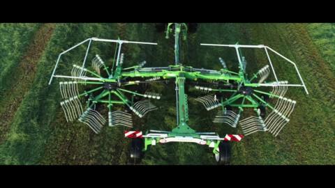 Zgrabiarka 2-karuzelowa SaMASZ Z2-780 //2-rotor rotary rakes SaMASZ Z2-780 working with SAME tractor
